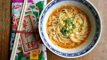 Foto van vegetarische spicy ramen