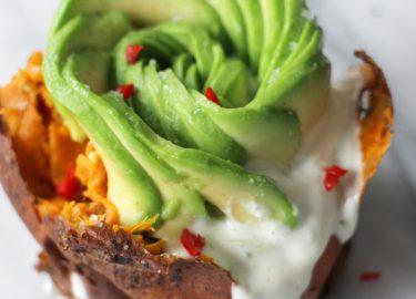 recept gepofte zoete aardappels avocado vegetarisch