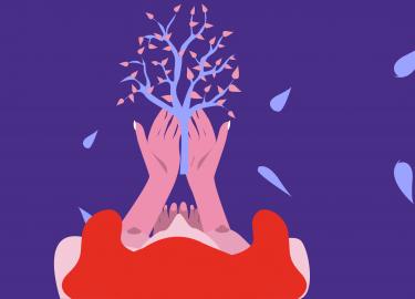 illustratie van meisje en boom