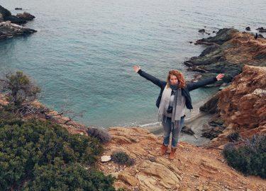meisje op een berg
