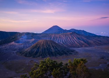 Top van een vulkaan