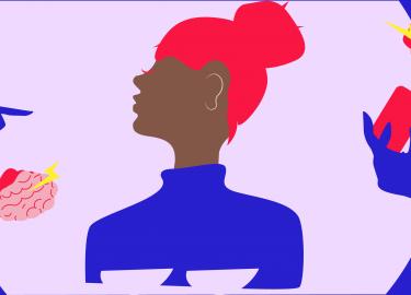 illustratie vrouw en telefoon