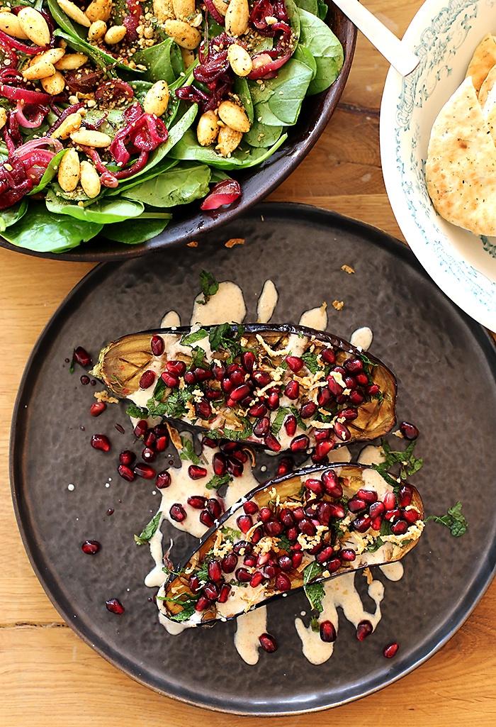 Afbeelding vegetarisch hoofdgerecht aubergines van Ottolenghi