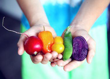 Groenten in de kleuren van de regenboog