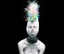 model met rietjes op haar hoofd