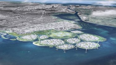 Tekening van eilanden met duurzame energie in Denemarken 1