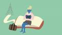 illustratie meisje en boek