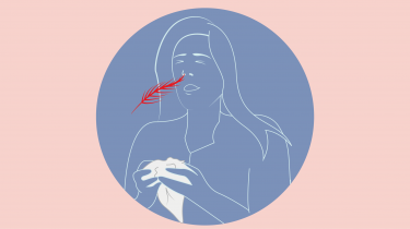 illustratie van meisje dat niest