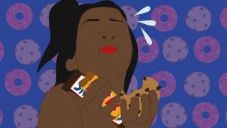 illustratie meisje eet