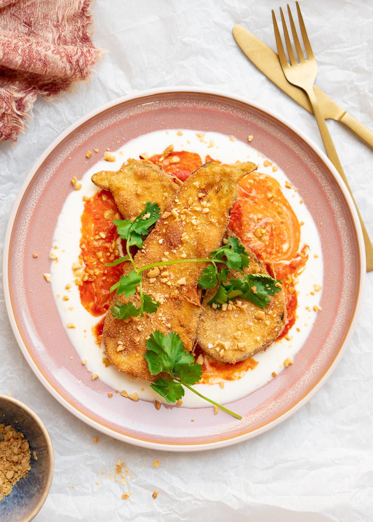 Afbeelding van vegetarische krokante aubergines recept 2