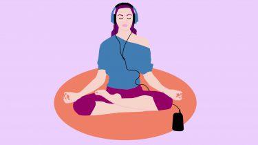 meisje mediteert illustratie