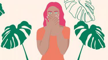 meisje met handen voor mond (illustratie)