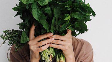 meisje met groenten voor gezicht
