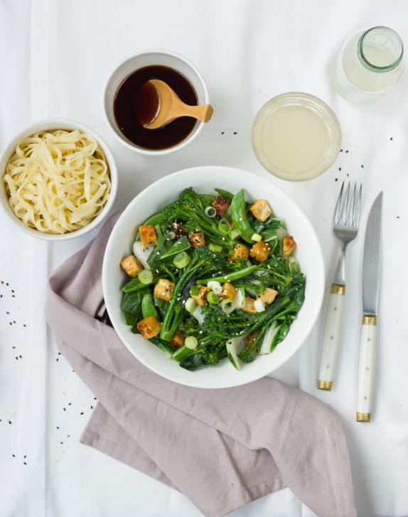 Recept gewokte groene groente tempeh
