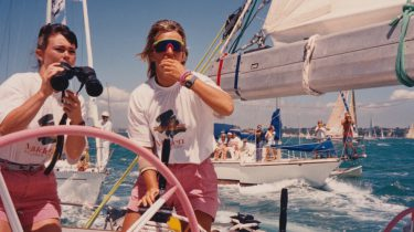 Two girls on a sailing boat